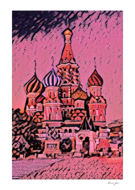 Russia Moscow Saint Basil's Cathedral Artistic Illust