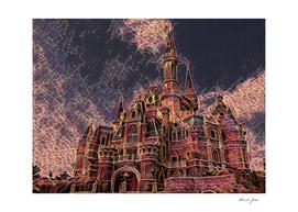 Shangai Disney Castle Artistic Illustration Firework