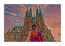 Spain Sagrada Familia Artistic Illustration Corrosive