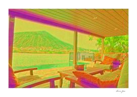 Usa Hawaii House Beach Artistic Illustration Acid Sty