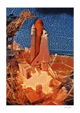 Usa Shuttle Artistic Illustration Fire and Ice Style