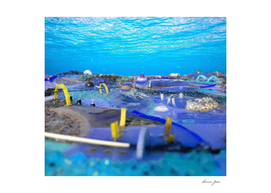 Blue sea bed Atlantis abstract painting place view il