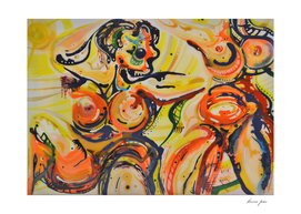 Nudity as freedom abstract painting caricature shapes