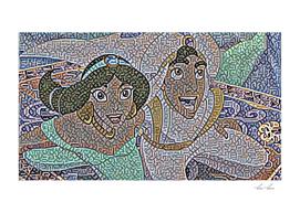 Aladdin and Jasmine Happy Artistic Illustration Carpe