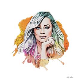 Amber Heard Juice Rainbow Portrait Stylish Blonde Gir