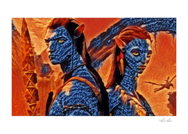 Avatar Poster Illustration Ice and fire Style