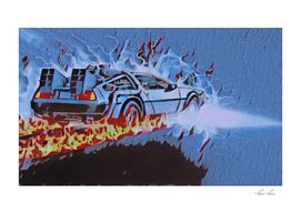 Back to the Future Car time travel Illustration Retro