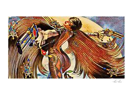 Bayonetta Posing Artistic Illustration Stained Glass