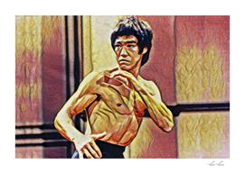 Bruce Lee Fighting Artistic Illustration Red Dragon S
