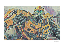 Bumblebee Surprised Artistic Illustration Colored Pen