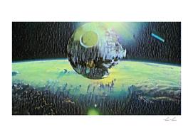 Death Star Floating Artistic Illustration Tragedy Sty