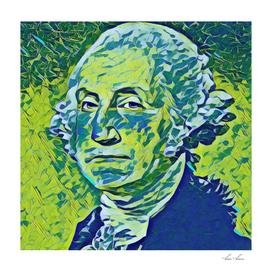 George Washington Artistic Illustration Green Banknot