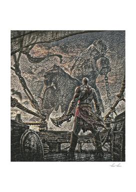 God of War Kratos Artistic Illustration Pebbles Style