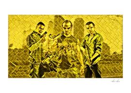 Grand Theft Auto V Trio Artistic Illustration Golden