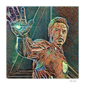 Iron Man Tony Stark Artistic Illustration Wires Style