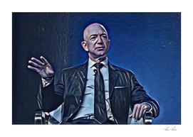 Jeff Bezos Talking Artistic Illustration Deep Blue St