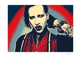 Marilyn Manson Aggressive Portrait Artistic Illustrat