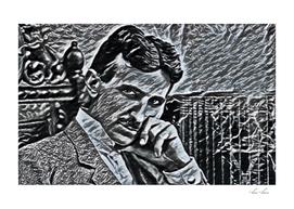 Nikola Tesla Artistic Illustration Aluminium Foil Sty