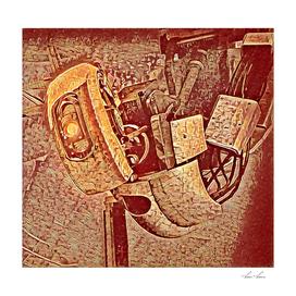 Portal Machine Artistic Illustration Red Aztec Style