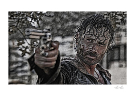 Rick Grimes Artistic Illustration Rough Style1