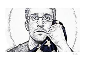 Snowden Artistic Illustration Pencil draw Style