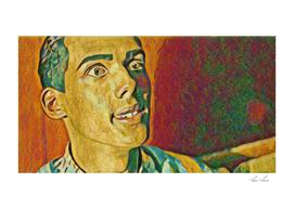 Stromae Artistic Illustration Plaster Painting Style