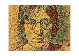 The Beatles John Lennon Artistic Illustration Flowere