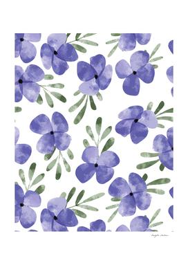 Purple flower watercolor pattern