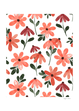 Orange Red Floral Pattern