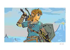 Zelda Link Artistic Illustration RGB Outline Style