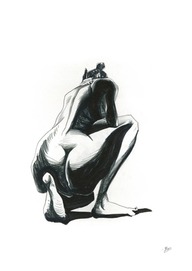 Nude model, pencil drawing