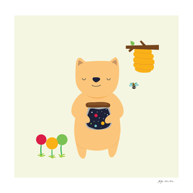 Bear with Delicious cosmic honey