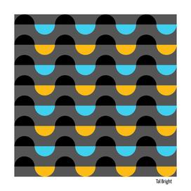 Mid century modern abstract waves geometric art