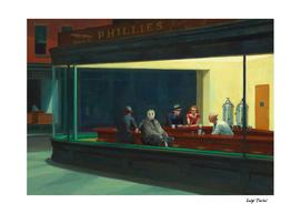 Jason Vorhees in Edward Hopper Nighthawks