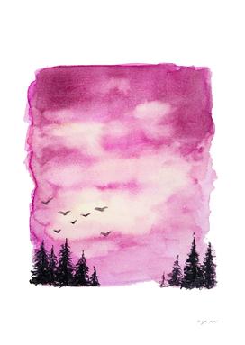Pink Sky Landscape