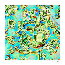 laurels, green blue, delicate spring print lyre and laurel