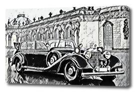 Antique Car Draw Aristocratic Palace Model War Period