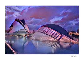 City of Arts and Sciences Sunset Purple Reflection