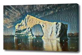 Disko Bay free interpretation of rough canvas used ye