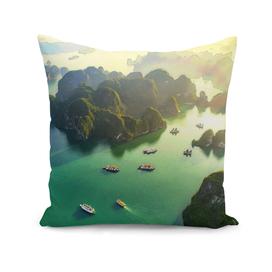 Halong Bay eastern uninhabited emerald green aerial v