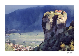 Meteora village perched rocky base Greece Medieval Ag