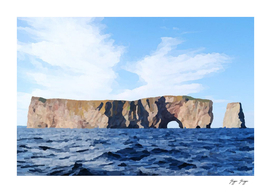 Percé Rock tunnel straight generally crooked hole Und