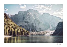 Pragser Wildsee Rocky cliff heat stamp natural minera