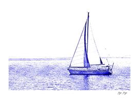 Sailboat pen blue Ocean sail plastic school draw