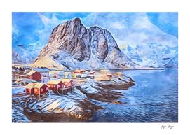 The Lofoten Islands superficially frozen huts exposed