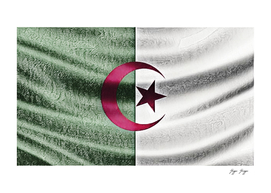Algeria Flag Moon Star Fabric Chapped Scratchy Intere