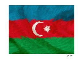 Azerbaijan Flag Under Water Distorsion Messed Color S