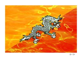 Bhutan Flag Industrial Plastic Reflection Merch Surfa