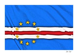 Cape Verde Flag Band Stars Over Blue Background