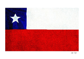 Chile Flag Color Pencil Sketch Wall Draw Poster